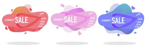 Abstract liquid shape with summer flip flops royalty free illustration