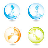 Abstract liquid splash spheres Stock Photos