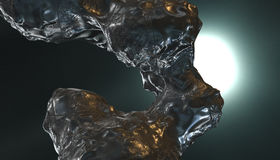 Abstract liquid stone metal in dark space, 3d render. Abstract liquid stone metal, 3d rendering Royalty Free Stock Image