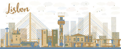 Abstract Lisbon city skyline with brown and blue buildings Royalty Free Stock Photo