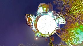 Abstract little planet view of a roundabout in the city at night. After the snow stock video