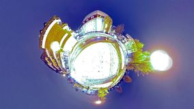 Abstract little planet view of a roundabout in the city at night. After the snow stock footage