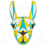 Abstract llama. blue, yellow and grey blended colored polygonal triangle geometric portrait  on white background. Abstract blue, yellow and grey blended colored Stock Photos