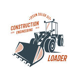 Abstract loader emblem, construction engineering. Design on white background Stock Images