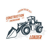 Abstract loader emblem, construction engineering. Design on white background Stock Image