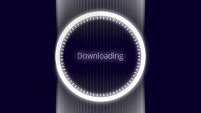 Abstract loading white circle with wide silver stripe on black background, seamless loop. Animation. Neon downloading. Abstract loading white circle with wide vector illustration