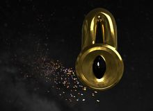 Abstract lock with black eye in space background 3d illustration. Abstract lock with black eye in space background 3d render Stock Illustration