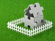 Abstract lodge and fence Stock Image
