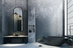Abstract loft bathroom with empty copyspace. Abstract loft bathroom interior with appliances, city view and empty copyspace on concrete wall. Mock up, 3D vector illustration