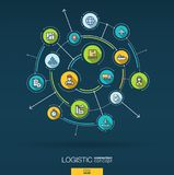 Abstract logistic and distribution background. Digital connect system with integrated circles, flat thin line icons Stock Photography