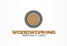 Abstract logo for business company. Corporate identity design element. Saw, woodworking, wood material logotype idea. Sawmill, circle, round blade rotation royalty free illustration