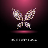 Abstract logo with butterfly character. Royalty Free Stock Photos