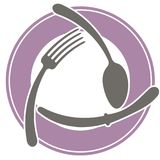 Abstract logo of a cafe or restaurant. A spoon, a fork and a knife lie on a plate. A simple outline. Stock Photo