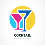 Abstract logo design template. Colorful cocktail circle icon. Co Stock Image