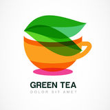 Abstract logo design template. Green tea symbol, natural herbal Stock Image