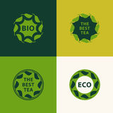 Abstract logo design template. Plant web Icon. Set of emblems. Graphic Design eco symbols in circles with leaves. Creative Ecology Stock Photos