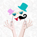 Abstract logo funny bride and groom kiss, mustache tie and cylinder. Hat and red lips with hands, floral background, pattern roses, fashion design print Vector Illustration