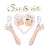 Abstract logo funny bride and groom. Pattern ribbon pink heart, fashion design prints, invitation card wedding, text save date, two hands with glasses of Royalty Free Illustration