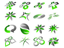 Abstract Logo Icon Design Set. 16 Green and Grey Logo Design Elements Collection Stock Image