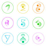 Abstract Logo Icons Set Thin Line Simple Colorful Royalty Free Stock Images