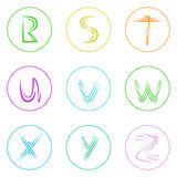 Abstract Logo Icons Set Thin Line Simple Colorful Royalty Free Stock Photo