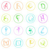 Abstract Logo Icons Set Thin Line Simple Colorful Royalty Free Stock Photos