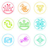 Abstract Logo Icons Set Thin Line Simple Colorful Stock Photo