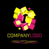 Abstract logo made of spinning cubes shapes. On black background in vector format Stock Photo