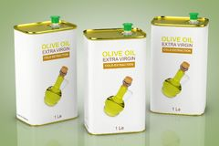 Abstract Logo Olive Oil Extra Virgin Metal Can. 3d Rendering. Abstract Logo Olive Oil Extra Virgin Metal Can on a green background. 3d Rendering Royalty Free Stock Photos
