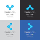 Logo Innovative Technologies. Abstract logo with a picture of blue atoms Royalty Free Stock Photography