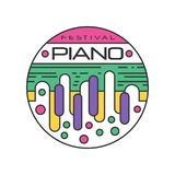 Abstract logo template for music festival. Creative linear sticker with colorful piano keys. Musical instrument. Vector. Abstract logo template for music Stock Image