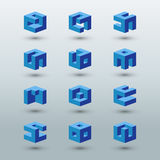 Abstract logo templates. Set of cubic shapes. Stock Photos