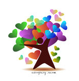 Abstract Logos. Abstract logic and human character with colorful hearts Stock Photo