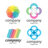 Abstract solution logos. Abstract logos of transparent colored plates Stock Photography