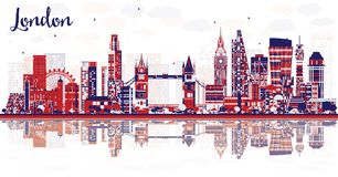 Abstract London England City Skyline with Color Buildings and Re. Flections. Vector Illustration. London Cityscape with Landmarks royalty free illustration