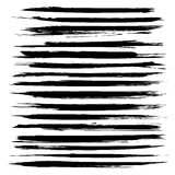 Abstract long black textured strokes big set. Isolated on a white background Royalty Free Stock Photos