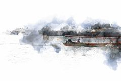 Abstract Long boat fishing in sea watercolor painting. Abstract Long boat fishing in sea, Fishing boat on watercolor paining background and colorful splash brush stock photography