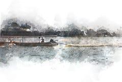Abstract Long boat fishing in sea watercolor painting. Abstract Long boat fishing in sea, Fishing boat on watercolor paining background and colorful splash brush stock image
