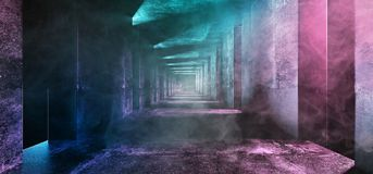 Abstract Long Grunge Concrete Sci Fi Modern Dark Empty Tunnel Wi. Th Smoke Fog And Purple Blue Led Neon Glowing Lights Reflections Background 3D Rendering royalty free illustration