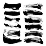Abstract long smears from black thick paint set Royalty Free Stock Photo