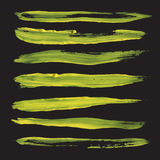 Abstract long straight strokes drawn thick yellow pain Stock Photography