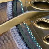 Snares mutes and hammers inside a grand piano. Abstract look into the inside of a bechstein grand piano Stock Photos