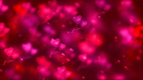 Abstract Loopable Background, flying hearts and particles. HD Loopable Abstract Background with nice flying hearts for club visuals, LED installations stock video footage