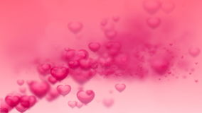 Abstract Loopable Background, flying hearts and particles stock video footage
