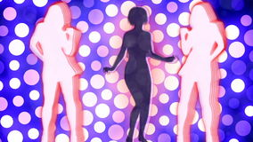 Abstract Loopable Background with nice dancing girls vector illustration