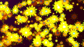Abstract Loopable Background with nice flying flowers. HD Loopable Abstract Background with nice flying flowers for club visuals, LED installations, broadcasting stock video