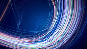 Abstract Loopable CGI motion graphics with colored lines on blue background royalty free illustration