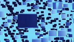 Abstract looped animated background based on the movement of blue cubes of crystals gathering and disintegrating into a wall consi stock footage