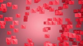 Abstract looped animated background based on the movement of red-rosy-pink cubes of crystals gathering and disintegrating into a w stock video