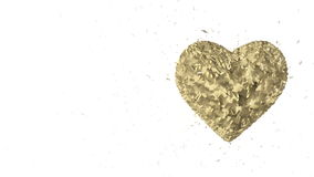 Abstract looped animated background: Rotating luminous 3d golden heart formed pieces and cubes of gold spinning with stray pieces. stock video footage